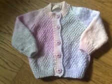 Hand knitted baby cardigan pink/lilac/grey NEW 3-6 months