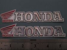 HONDA embossed foil chrome stickers. NEW.Decals, badges motorcycle biker x 2 TWo
