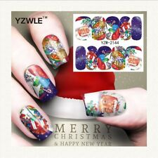 Nail Art Water Decals Stickers Christmas Santa Clause Stars Presents (A144)