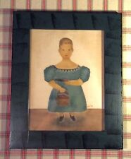 """Folk Art Theorem Painting on Velvet ~12.5 x 15.5""""~Signed, Sponge Painted Frame"""