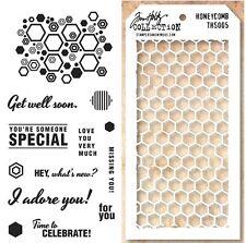 Fiskars Clear Stamps Hexagon Sentiments & Tim Holtz Honeycomb Layering Stencil
