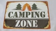 Camping Zone Sign Metal Embossed Vintage Home Room Store Decor