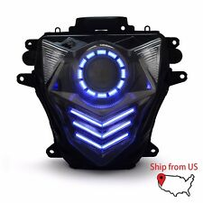 KT LED DRL HID Projector Headlight Assembly for Suzuki GSXR750 2011 2017 Blue