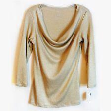 INC International Concepts NEW Cowl Neck Top Stretch Gold Metallic Knit Medium