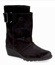 NEW SOREL Toronto Mid Boot Women's 7 Black Slouchy Waterproof Oiled Suede Wedge