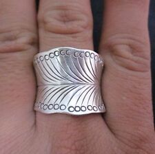 Fine Silver Jewelry Rings Ethno Anello Argento Adjustable Feather Band 46023