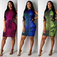 Women Sleeveless Stripes Patchwork Bodycon Club Party Casual Summer Mini Dress