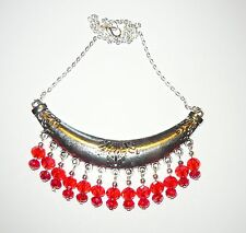 HANDCRAFTED UNIQUE STATEMENT COLLAR NECKLACE WITH RED DROPS