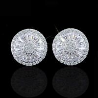 925 Sterling Silver Baguette Diamond Halo Stud Earrings