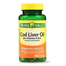 Spring Valley Cod Liver Oil Plus Vitamin A & D Softgels, 100 Count