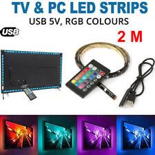 2M USB Powered RGB Colour 5050 USB LED Strip Light Kit TV Backlight