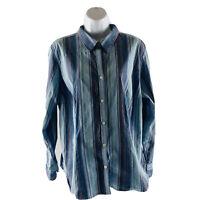 IZOD Top Blouse Size 1X Button Down Long Sleeve Blue  Striped Cotton Blend