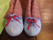 Toddler Girls M 7 8 American Girl Bitty Baby Twins Blue Red Hearts Slippers Shoe