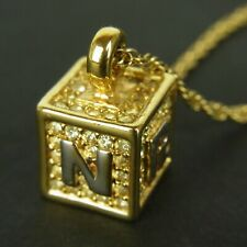 Auth NINA RICCI Vintage NR Logos Rhinestone Chain Necklace Pendant F/S 5002