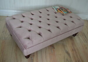 Chesterfield Deep Button Footstool in Plush Blush Pink Velvet Fabric