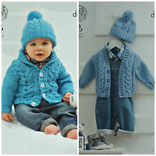 Baby KNITTING PATTERN Baby V-neck Cable Jacket Cardigan & Bobble Hat DK KC 4198