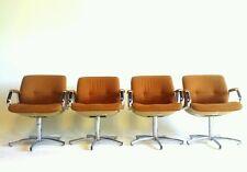 4 Orange Chrome Vintage Century Danish Modern Chairs Dining Office Swivel Arm