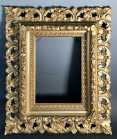 19thC Antique VICTORIAN CARVED WOOD FRAME Mirror Kpm Plaque Oil Painting