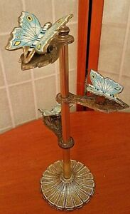 Vintage Allied Brass Butterfly Note Recipe Photo Note Towel Holder 3 TIER CLIP
