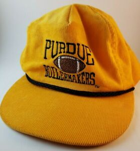 Vintage Purdue University Boilermakers Corduroy Strapback Hat Cap Black Yellow