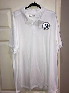 NWT Under Armour Heatgear Notre Dame Baseball White Collared Shirt Size 3XL