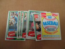 1981 Topps Baseball Coca Cola Phillies Team Set Complete