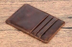 AU POPULAR Pocket-sized Super Slim Genuine Leather Mens Credit Card ID Holder