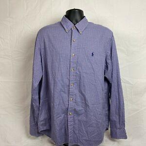 Ralph Lauren Mens Long Sleeve Tiny Checks Logo Button Up Blue Shirt Size XL