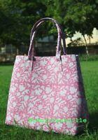 Tote Bag Block Printed Handbag Cotton Women Indian Mandala Satchel Purse Lady