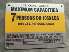 United Marine Corp Boat Capacity Plate~Tag 7 Person or 1050 Lbs~Genesis 1701