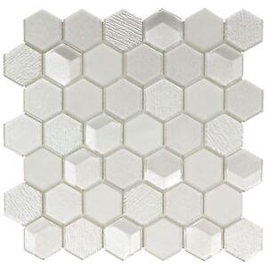 Modern Hexagon White Glass Mosaic Tile Backsplash Kitchen Bathroom Wall MTO0302