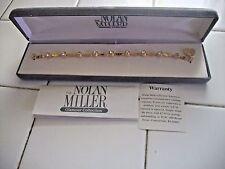 NOLAN MILLER Signed Bracelet Elegant Goldtone Link w Clear Austrian Crystals