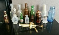 OLD ANTIQUE VTG ORIGINAL BEER MEDICINE AQUA AMBER GREEN COLOR GLASS BOTTLE LOT