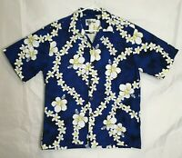 Howie Hawaiian Aloha Camp Shirt Mens Size Medium Blue Floral Tropical Vacation