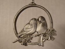 Vintage Amos Pewter 1982 Ornament 2 Love Peace Dove Birds on Tree Branch - Excel