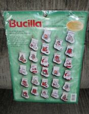 1998 BUCILLA COUNTED CROSS STITCH CHRISTMAS STOCKING ORANAMENTS SET OF 26 SEALED