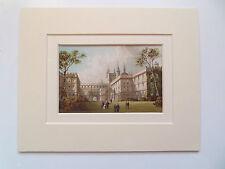 """Oxford New College ANTIQUE CHROMO 6x8"""" Double Mount datée du 1888 Prêt à encadrer"""