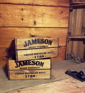 Rustic And Vintage Wooden Jameson Whiskey Crate - Box Storage