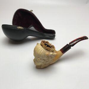 Meerschaum Pipe Hand Carved Lady Head  Süleyman Coşgun Cased Smoking Rare