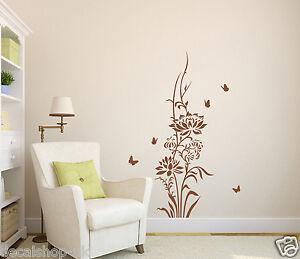 Lotus Flower & Butterflies Wall Art Vinyl Wall Sticker Wall Decals- HIGH QUALITY