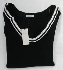 Ladies Marks and Spencer per Una Black Jumper With White Striped Trims Size 20