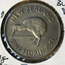 1941 New Zealand 1 Florin Silver Coin UNC/BU Condition