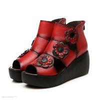 Women Open Toe Platform Flowers Hollow out  Sandals High Wedge Heel Roman Shoes