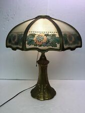 Antique Panel Lamp Large Full Size Pittsburgh Reverse Painted Grooved Glass Lamp