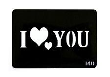 Pochoir I LOVE YOU Coeur Tatouage Paillettes, Aérographe ou Décoration