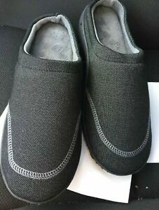 Isotoner Men's Slippers House Shoes Black 9.5-10.5 Dark Grey slip on loafers NEW