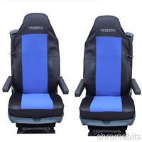 2 / Par Tela Azul FUNDAS ASIENTOS a medida para Volvo Camión FH12 FH 16 FLUIDAS