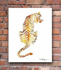 Tiger Abstract Watercolor Painting Art Print by Artist DJ Rogers
