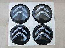 COPRIMOZZI ADESIVO STICKERS 3D X 4 PZ 50 mm CITROEN C1 C2 C3 C4 C5 C6 DS3 NERO