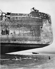 B&W WWII Photo US Sailors Swim Near Shipwreck  WW2 World War Two US Navy USN